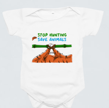 Load image into Gallery viewer, Baby Romper - Stop Hunting Tiger by Rihannat - White - Short Sleeve
