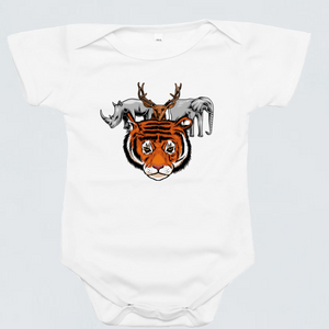 Baby Romper - Tiger Squad by Pang Yii Hao - White - Short Sleeve