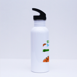 Sport Flask - Stop Hunting Tiger by Rihanna - White