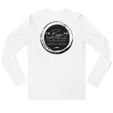 Black/White Label Long Sleeve Fitted Crew