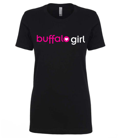 Buffalo Girl Black - Ladies Fitted Crew Neck