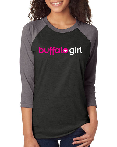 Buffalo Girl Black - Raglan T-Shirt
