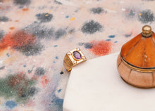 Load image into Gallery viewer, 14k solid gold ring with diamonds and purple stone - Mottive.inc