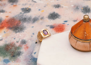 14k solid gold ring with diamonds and purple stone - Mottive.inc