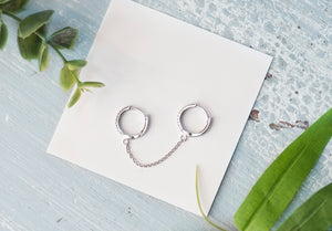Double Huggie Chain Earring - tissinyc