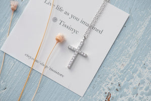Pave Cross Necklace - tissinyc