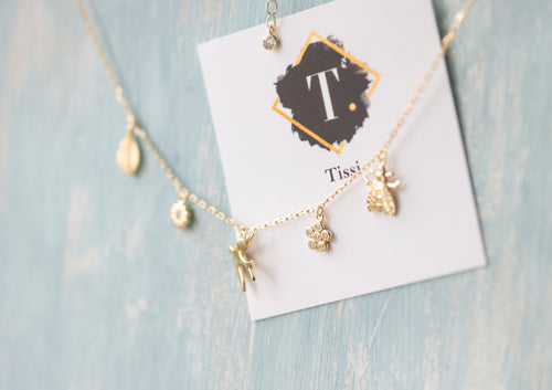 Sally Multi Charm Necklace with CZ Crystals - tissinyc