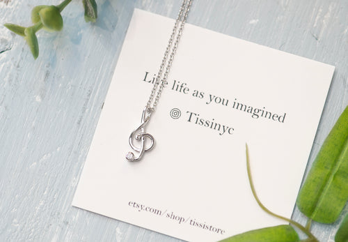 Treble Clef/Musical Note Necklace - tissinyc