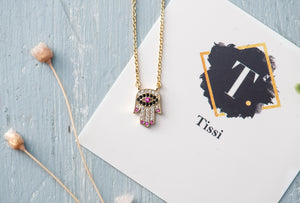 Colorful Hamsa Hand Necklace - tissinyc