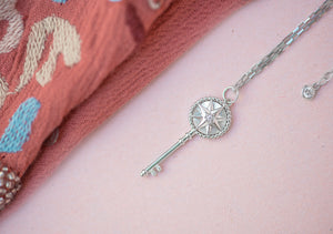 Star Key Pendant with mother of pearl center - tissinyc