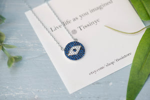 Pave Evil Eye Necklace - tissinyc