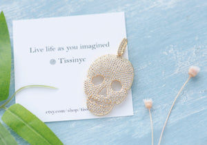 Luxe Pave Skull Necklace - tissinyc