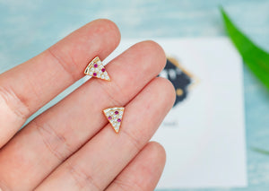 Tiny golden crust pepperoni pizza stud earrings - tissinyc