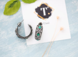 Marion Vintage Oxidized Silver Hoops - tissinyc