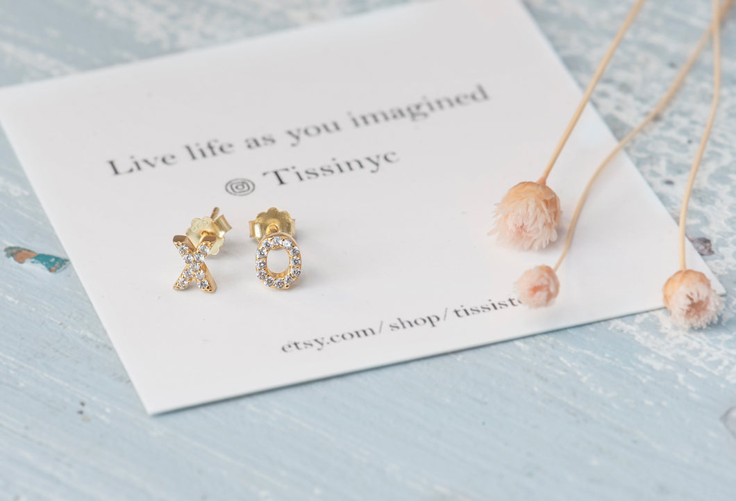 Pave XO Crystal Studs - tissinyc