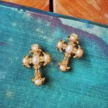 Load image into Gallery viewer, Vintage gold cross earrings - Mottive.inc