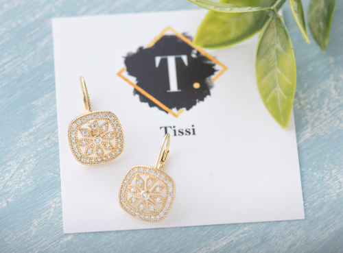 Rita CZ Floral Drop Earrings - tissinyc