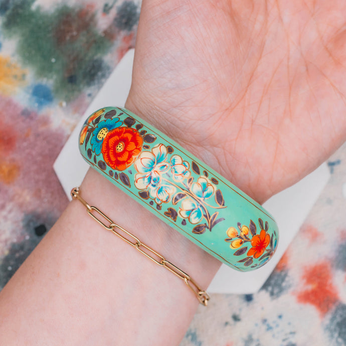 Vintage Hand Painted Wooden Bangle - Mottive.inc