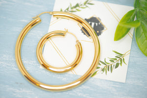 Diana Hollow Gold Hoops - tissinyc