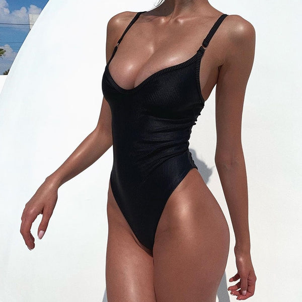 2020 Solid One Piece Swimsuit Women