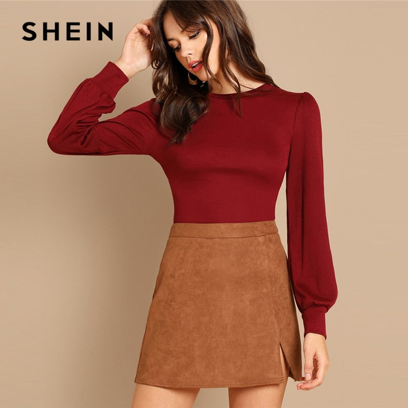 SHEIN Burgundy Round Neck Solid Tee Minimalist Plain Long Sleeve Basic Top Women Autumn Workwear Casual Pullovers T-shirt