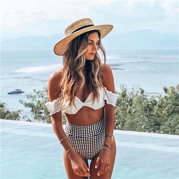 Ladies Retro Plaid Bandeau Off Shoulder Bikini High Waist