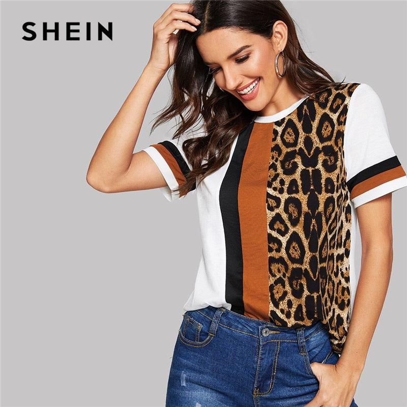 SHEIN White Color Block Cut-and-Sew Leopard Panel Top Short Sleeve O-Neck Casual T Shirt Women 2019 Summer Leisure Tshirt Tops