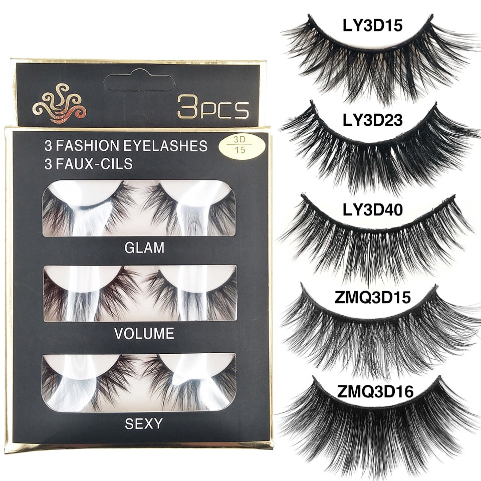 26 Styles Lashes 3 Pairs Faux Mink Eyelashes Natural Long
