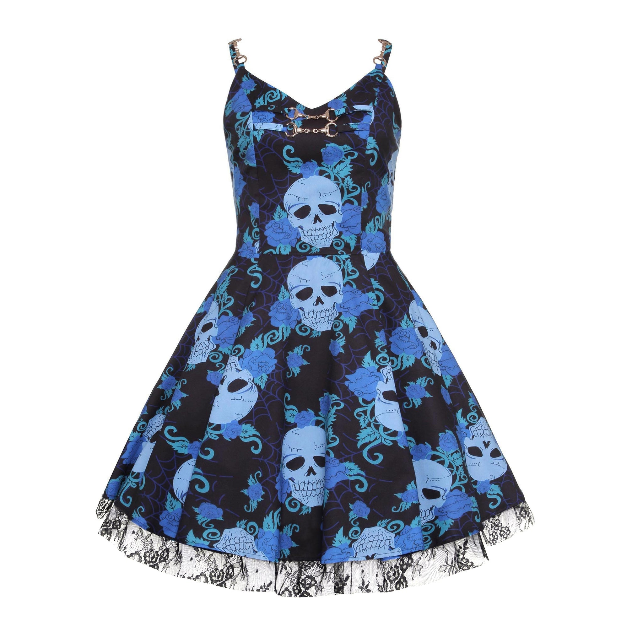 Women skull Dress - Black Lace Dress