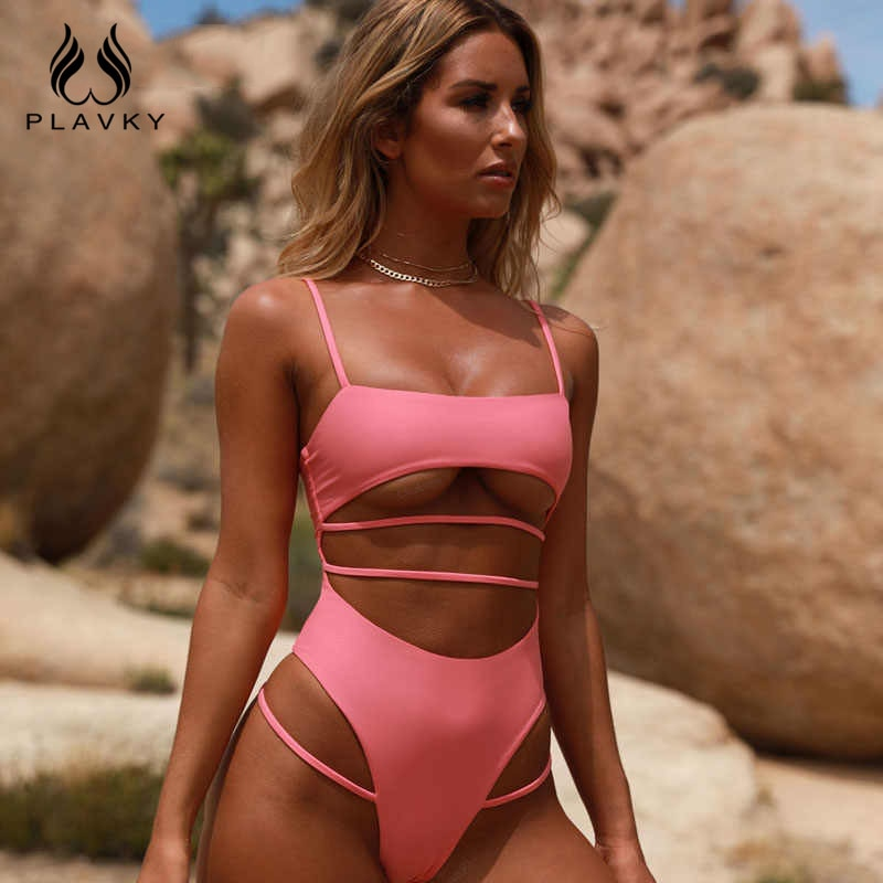 Sexy Solid One Piece Swimsuit Bandage Strappy Swimwear Women High Cut Swimsuit Push Up Padded Bathing Suit Female Bodysuit