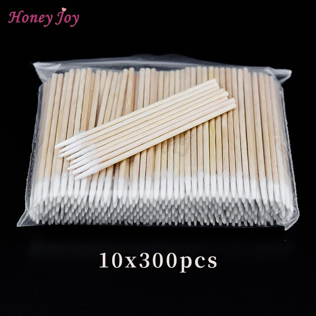 300PCS Short Wood Handle Small Pointed Tip Head Cotton Swab