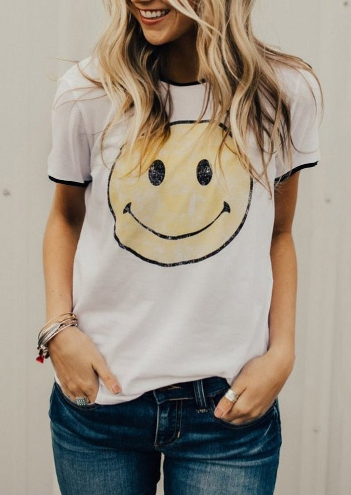 T-Shirt Women Smile Print Splicing Short Sleeve