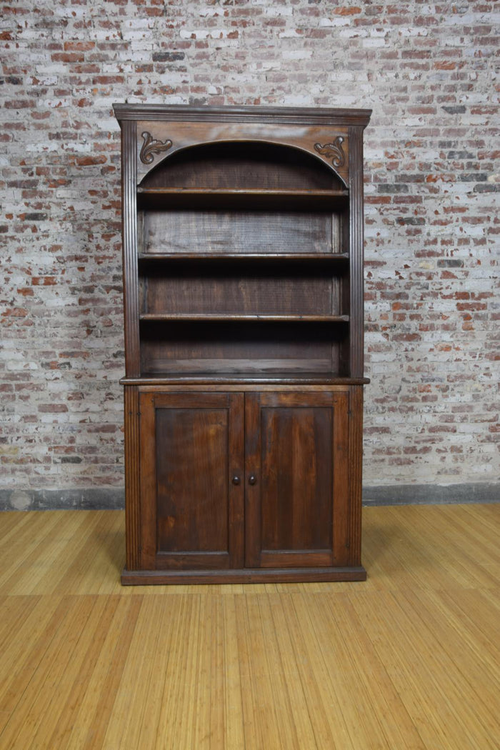 Barnwood Bookcase - Floral Carvings