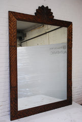 Barn Wood Mirror - Floral Carving