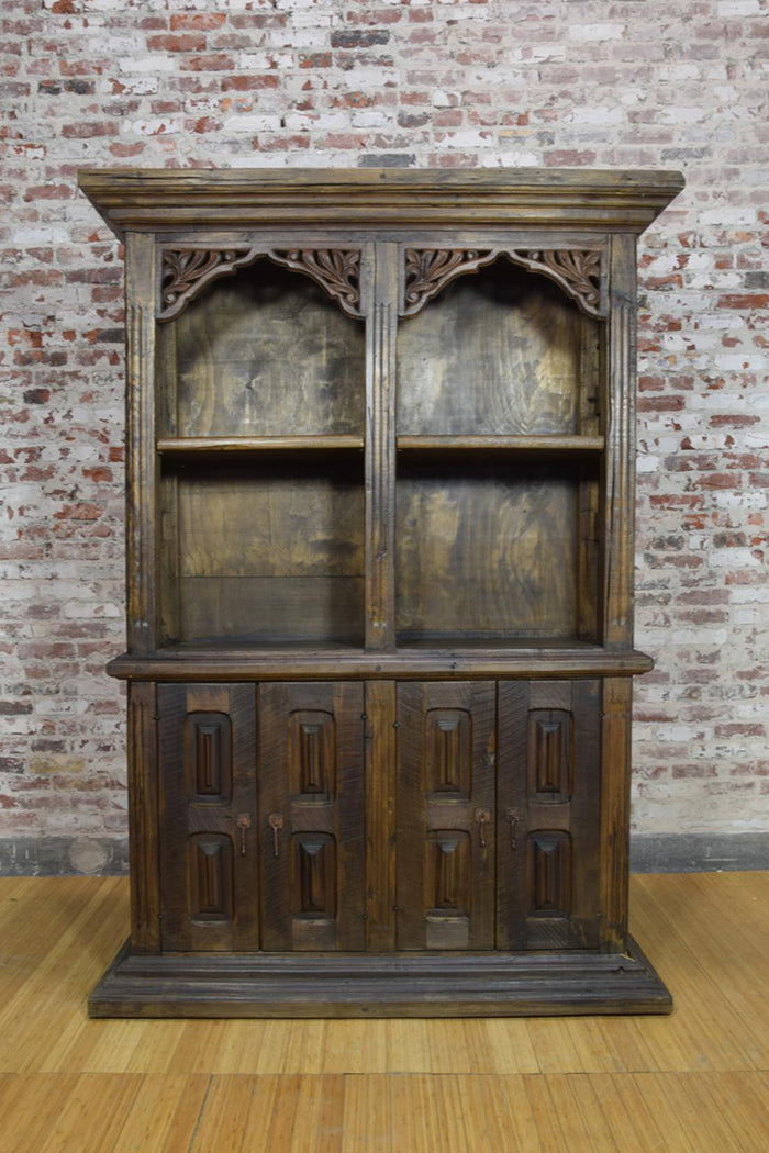 Barnwood Hutch - Double Display Cabinet with Carvings