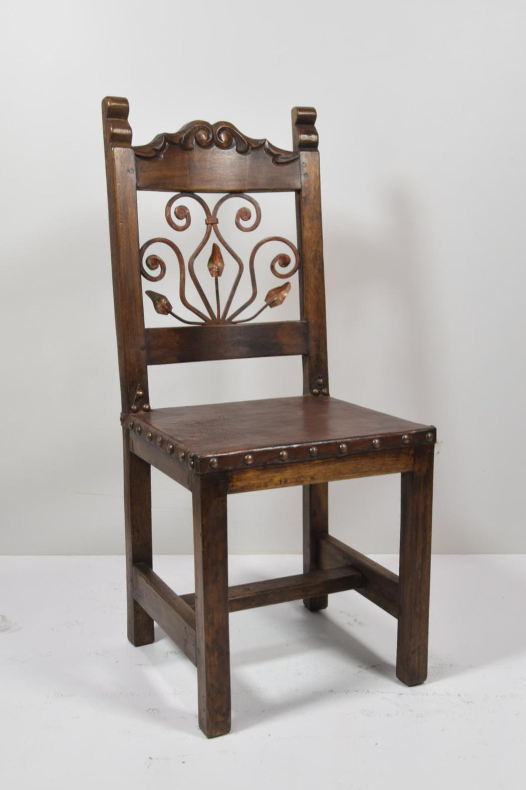 Barnwood and Wrought Iron Dining Chair - Hearts