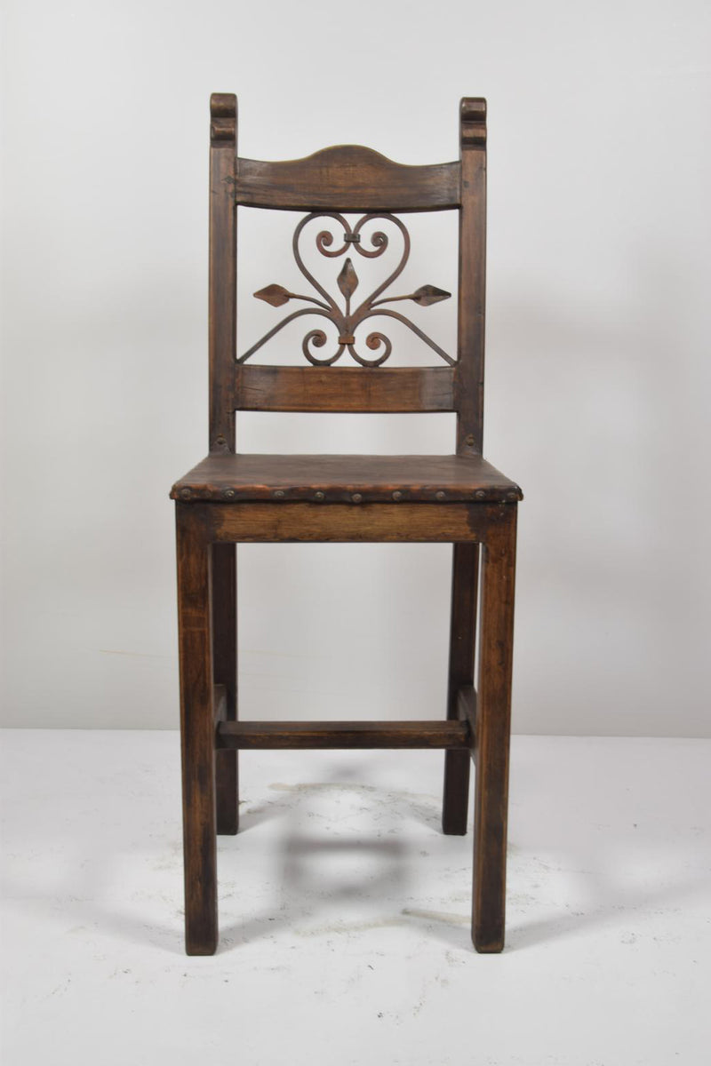 Barnwood and Wrought Iron Dining Chair -  Single Heart
