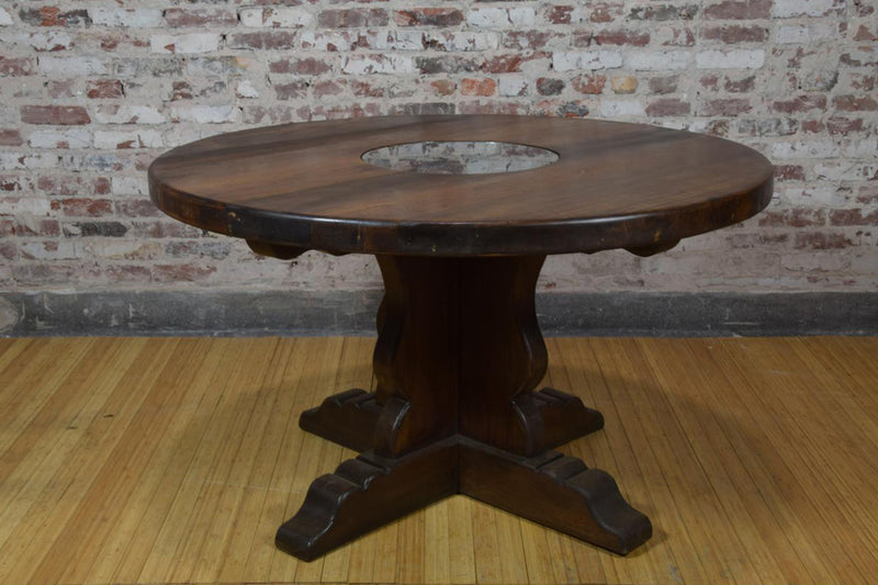 Barnwood Side Table - Round Glass Accent