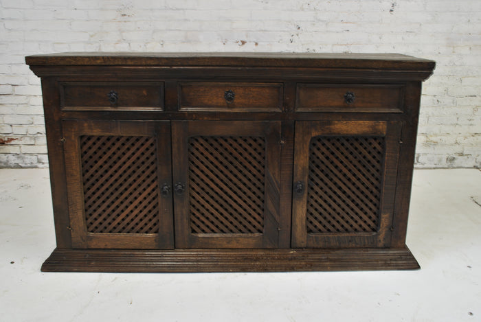 Barn Wood Server Cabinet - Woven Design