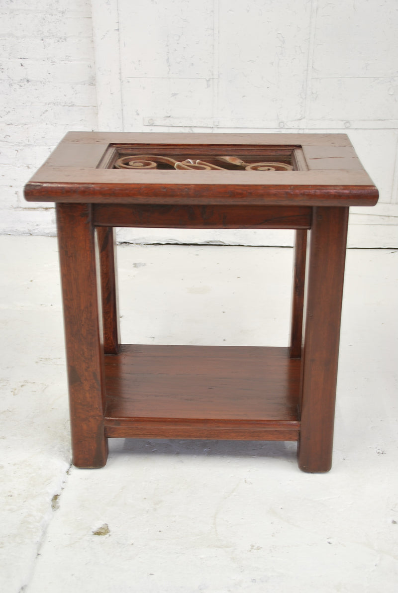 Barn Wood Side Table - Iron Accent