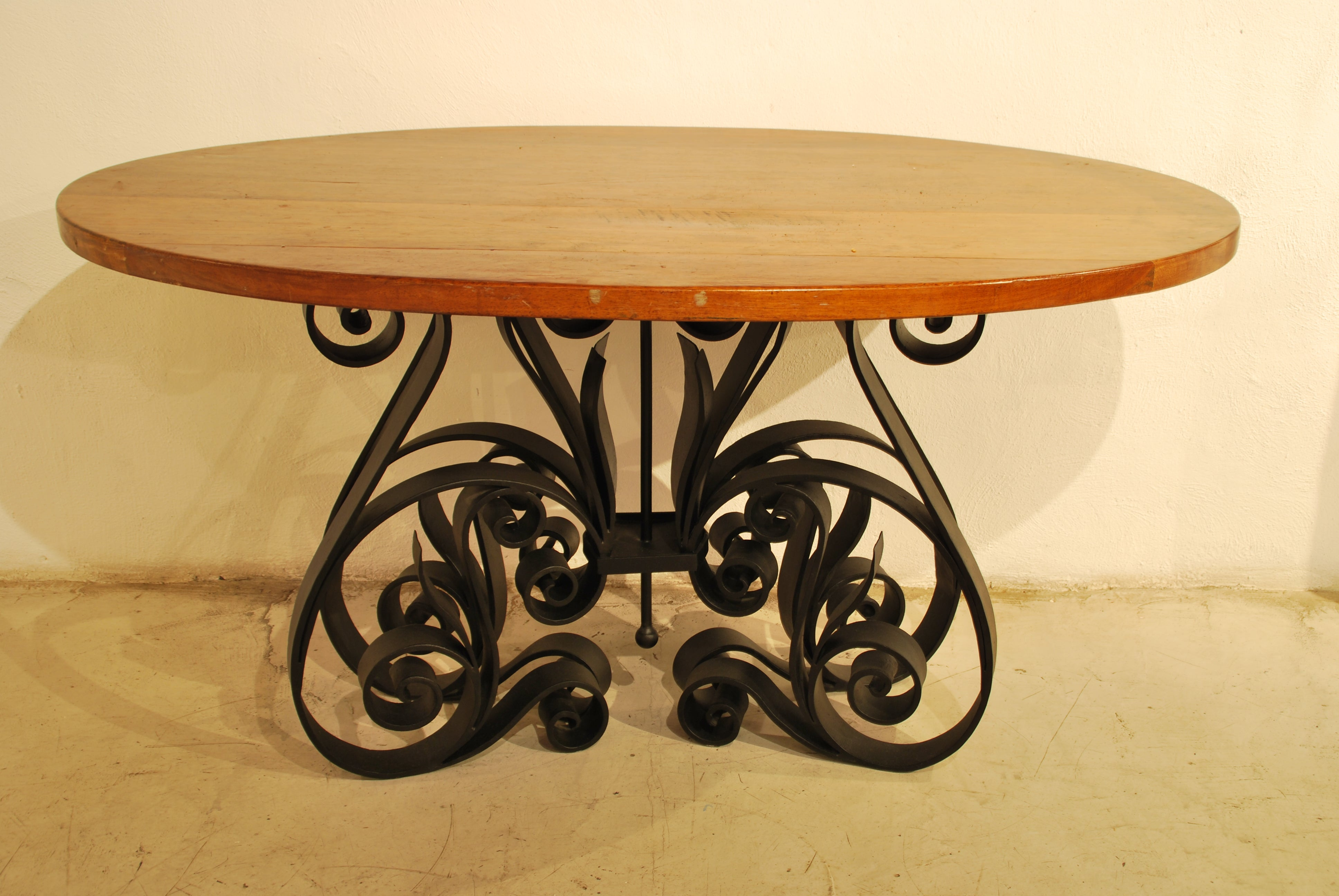 Barn Wood Dining Table - Oval Iron Base