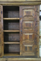 Barn Wood Wide Bookcase - Rectangle Panel Carving AR-013