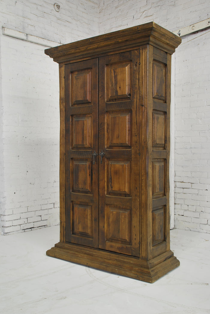 Barn Wood Armoire - Rectangle Panel Carving AR-013