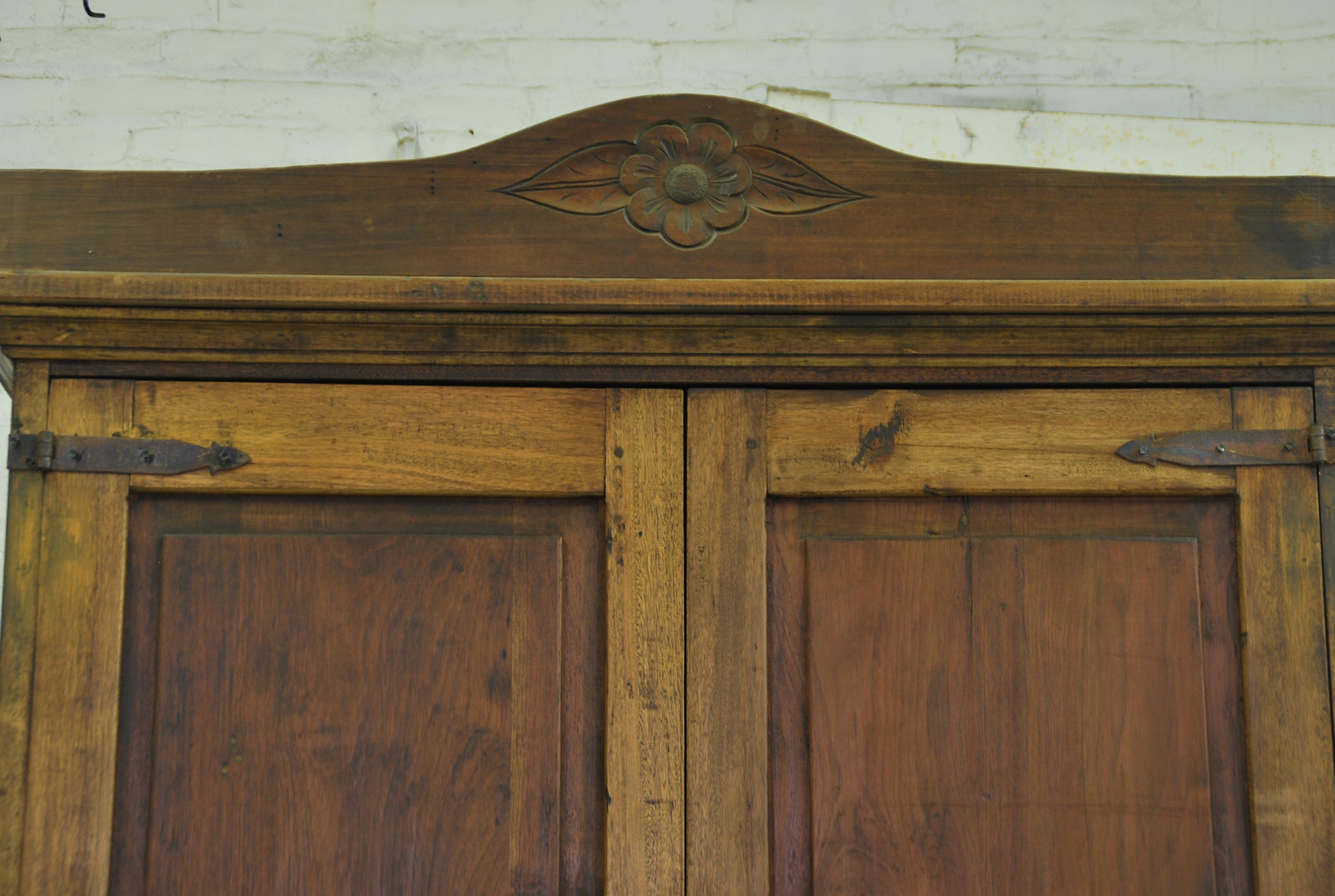 Barn Wood Armoire - Pediment Floral Carving AR-011