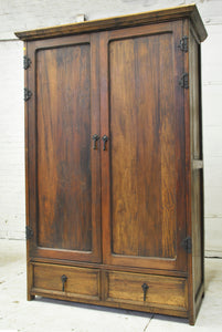 Reclaimed Barn Wood Armoire - Modern Dark