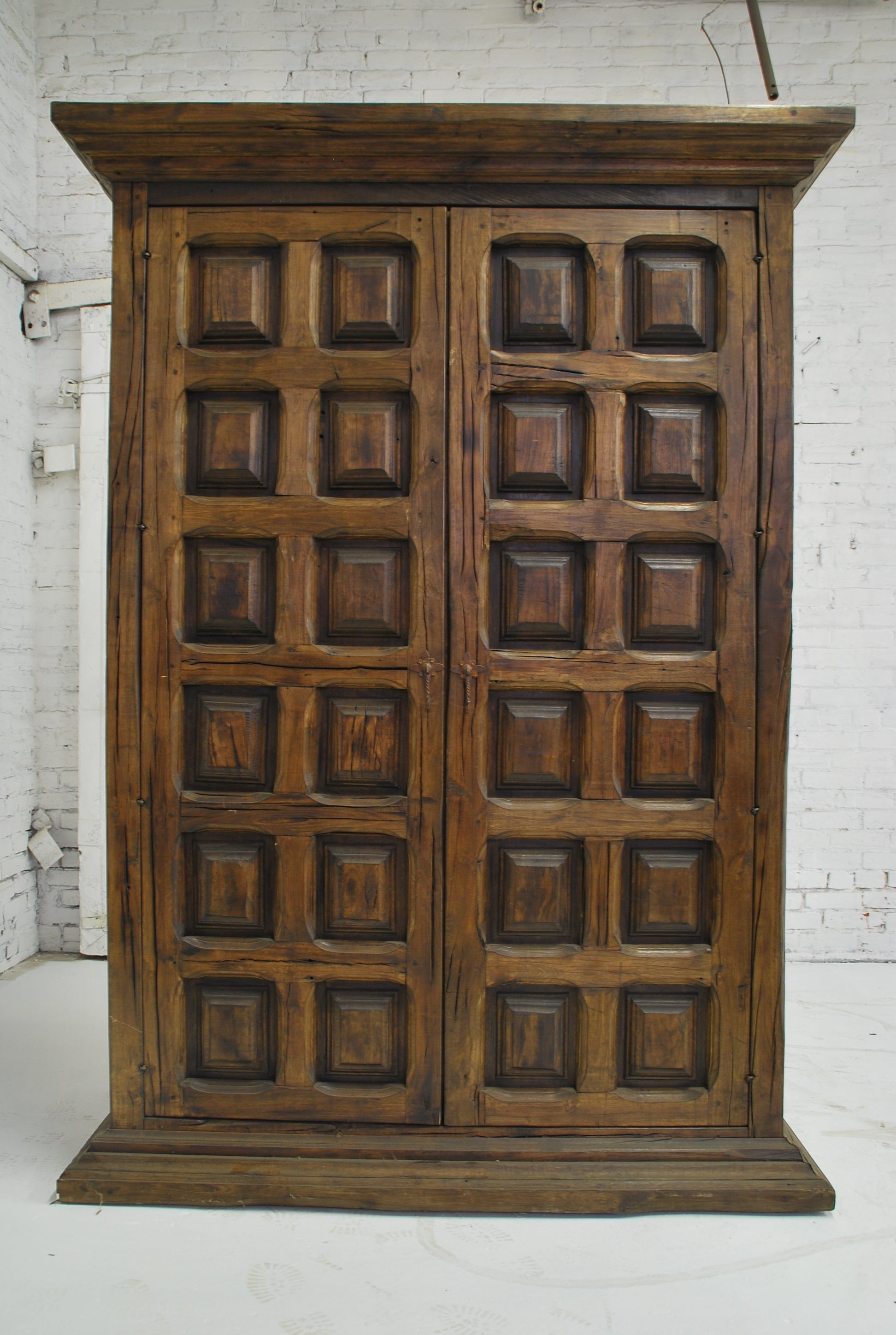 Barn Wood Armoire - Square Panel Carving AR-001