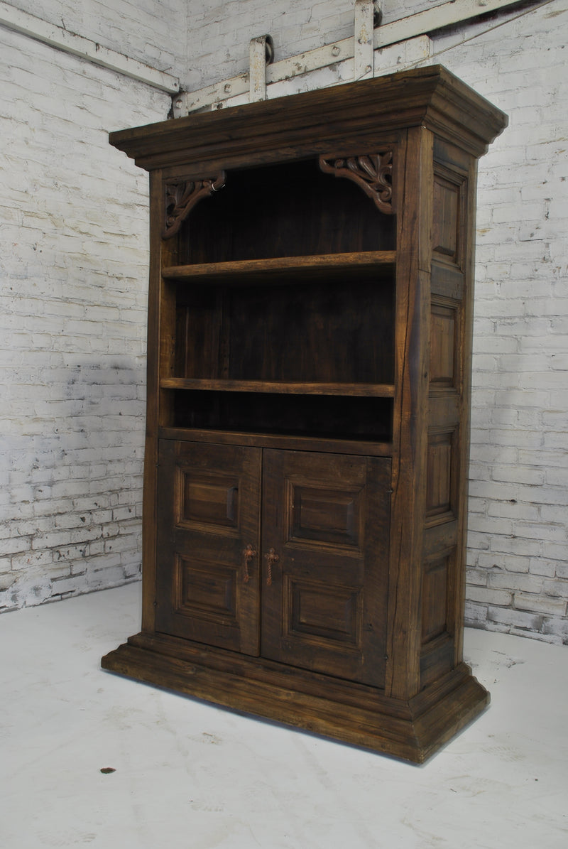 Barn Wood Bookcase - Floral Carving Display