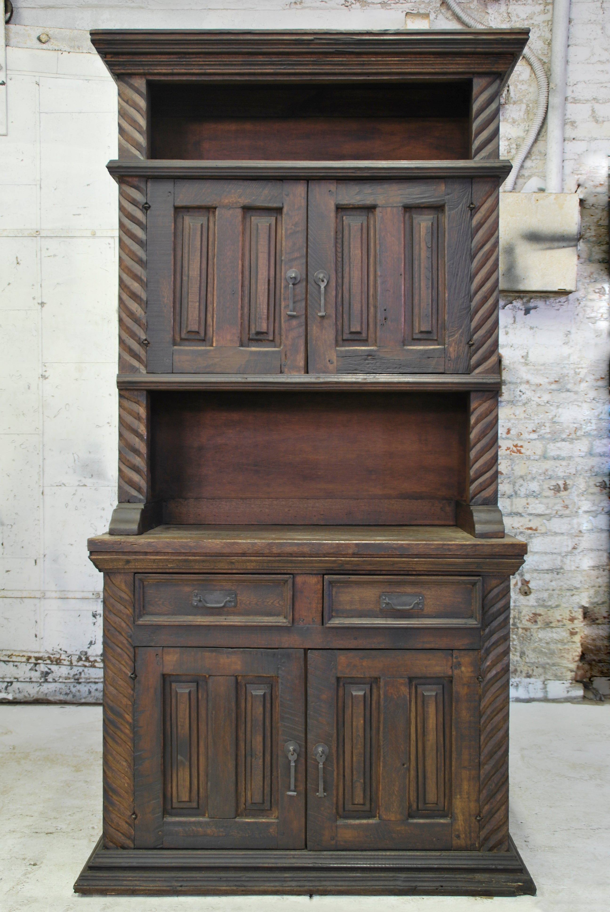 Barn Wood Hutch - Column Carving Accents