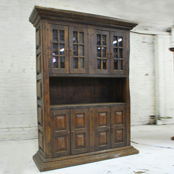 Barn Wood Hutch - Double Wide Partial Glass Display