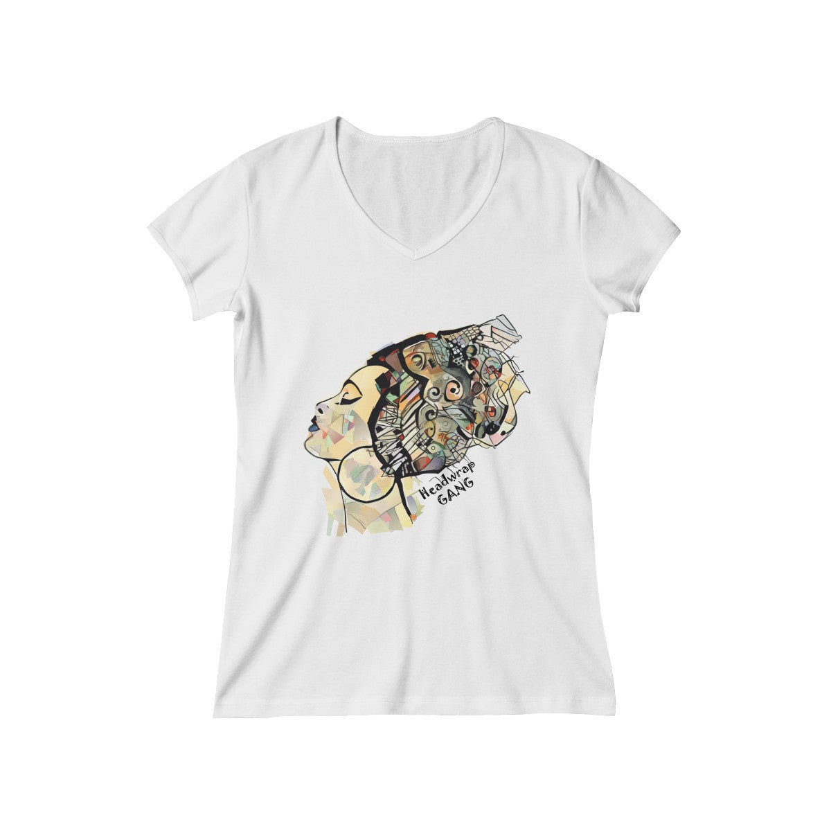 African Woman Headwrap Gang V-Neck T-Shirt